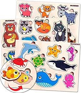 Toddler Toys Puzzles for Kids Ages 2-4 by Quokka – Three Wooden Puzzles for Toddlers 1-3 Years Old - Babies' Wood Toy for Learning Animals and Sea Creatures - Gift Educational Toys for Boys and Girls