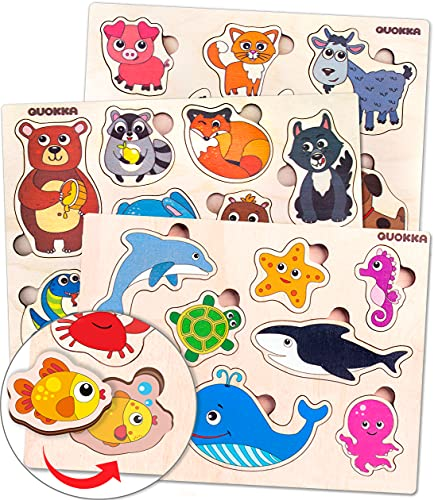 Toddler Toys Puzzles for Kids Ages 2-4 by Quokka – 3 Wooden Puzzles for Toddlers 1-3 with Matching Pictures Inside - Wood Toy for Learning Animals - Gift Educational Game for Boy and Girl 3-5