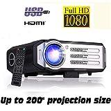Full HD 1080P Beamer XSAGON (2019 NEU) Projektor maximale Helligkeit LED 1920x1080, 200' LCD Beamer, für Film Unterhaltung Spiele, unterstützt HDMI VGA AV USB