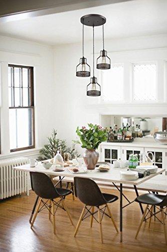 Truelite Industrial 3 Light Dining Room Pendant Rustic Oil Rubbed Bronze Wire Cage Hanging Light Fixture