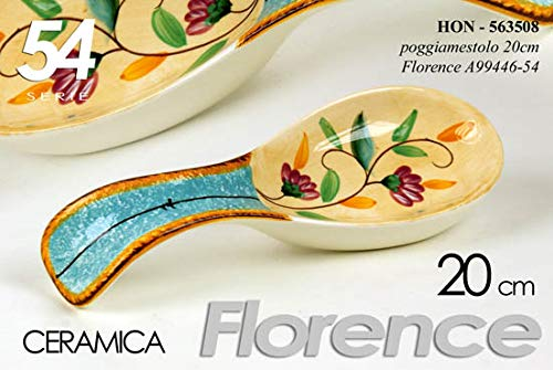 Gicos Porta mestolo poggia mestolo in Ceramica Cucina Decoro Florence Fiori 20 cm HON-563508