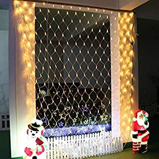 Battery Operated Outdoor Net Lights,100 LED Fairy String Light Tree Mesh Light 8 Mode Dimmable Backdrop Decorative Lights with Remote for Dorm Wall Xmas Tree Backyard Backdrop-4.9ft x 4.9ft,Warm White