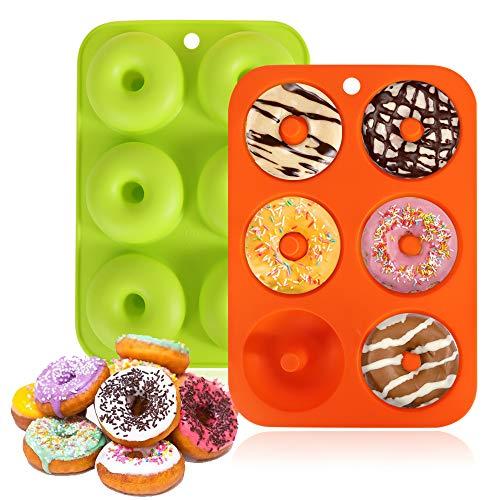 Moldes de silicona para donuts, paquete de 2 moldes flexibles de grado alimenticio para hornear donuts con forma perfecta, para galletas, fácil de sacar, sin BPA, lavavajillas, horno
