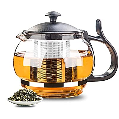 PURPLECROWN Glass Teapot with Removable Stainless Steel Infuser, Borosilicate Glass Teapot, Great For Loose Leaf Tea, Blooming Tea, Flowering Tea, Tea Bags & Fruit Infused Water – 30 Ounce / 880 ML