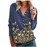 Dasongff Damen Pullover Langarm V-Ausschnit Sweatshirt mit Knopf, Blumen und Schmetterlinge-Drucken Tshirt Langarmshirt Hemd Bluse Mehrfarbig Top Mode Sweatshirt Freizeit Blusen