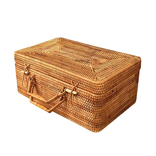 XJJUN Maleta Vintage Caja De Almacenamiento Retro, Maleta De Ratán, Maleta, Caja De Almacenamiento De Cosméticos, Maleta Tejida De Gran Capacidad (Color : Brown, Size : 46x37x21cm)