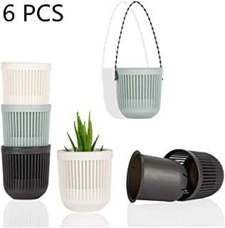 6Pcs Succulent & Cactus Self-Watering Plastic Hanging Planter Home or Office Desk Pot or Container