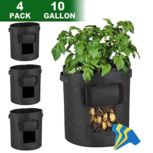 Lovinouse Large 4-Pack 10 Gallon Grow Bags, with 5 Pcs Plant Labels, Potato Planter Bags with Access Flap, Handles, Aeration Fabric (4 Pack 10 Gallon+5 Planter Label)