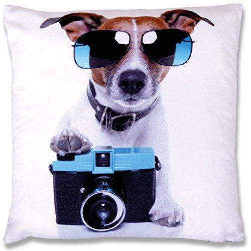 Fotoprint Kissenbezug mit Motiv 30x30 cm Fotodruck Kissen, gemütliches und amüsantes Wohnaccessoire mit und ohne Füllkissen in vielen verschiedenen Motiven erhältlich (mit Füllkissen / Hund Kamera)