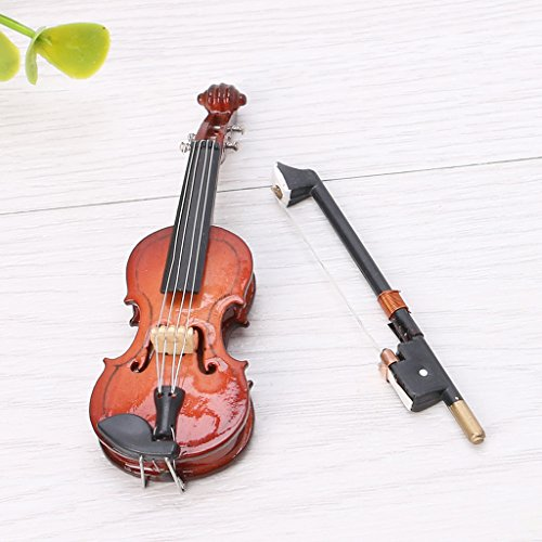 Sarora - 7CM Mini Violin Miniature Musical Instrument Wooden Model with Support and Case