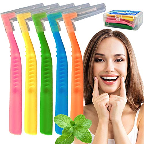 Interdental Brushes 5 Mix Size 0.6-1.5mm Tooth Dental Picks Flossing Head Oral Dental Hygiene Brush Interdental Cleaners Between Teeth with Carrying Case, 20 Count