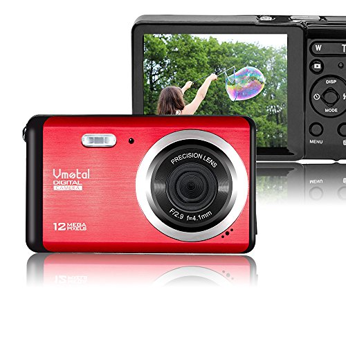 Vmotal GDC80X2 Mini cámara Digital compacta 12 MP HD 3,0' TFT LCD para niños/Principiantes/Ancianos (Rojo & Negro)
