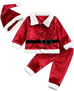 Sponsored Ad - Ayalinggo Baby Christmas Outfit Girl Boy Fleece Long Sleeve Coat+Pants+Santa Hat+Shoes 4Pcs Christmas Baby ...