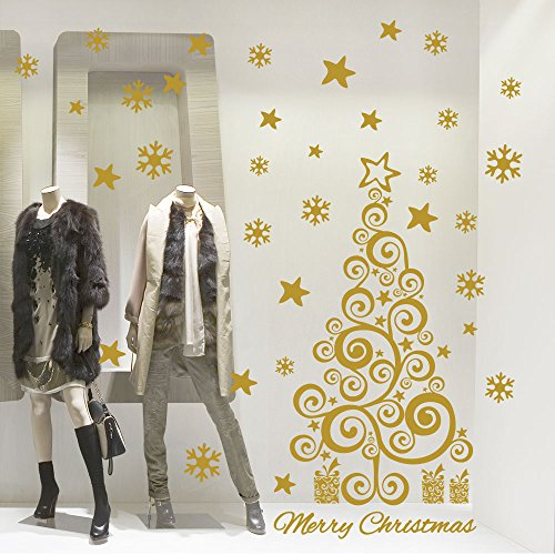 NT0391 Adesivi Murali Vetrofanie natalizie - Albero delle feste - Misure 60x120 cm - oro - Vetrine negozi per Natale, stickers, adesivi