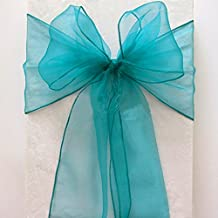 mds Pack of 50 Organza Chair Sashes Bow Sash for Wedding and Events Supplies Party Decoration Chair Cover sash -Light Teal