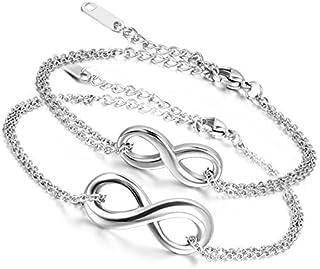 Flongo Bracciale Infinito Braccialetto Acciaio Infinity Simbolo Argento per Coppia Amante San Valentino Regalo