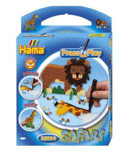 Hama Press Play Geschenkpackung 6601 Safari Löwe und Giraffe - Bügelperlen oh...