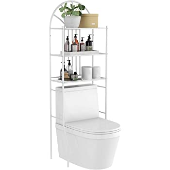 "Tangkula 3-Tier Over The Toilet Storage Rack, 3-Tier Bathroom Space Savor, 23.5"" x 10.5"" x 68"", White"