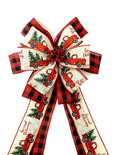 Red Truck Christmas Tree Topper, Farmhouse Large Gift Bow, Red Plaid Wreath Bows, Door Bows, Banister Bow, Christmas Bows, Swag Bow, Lantern Bow