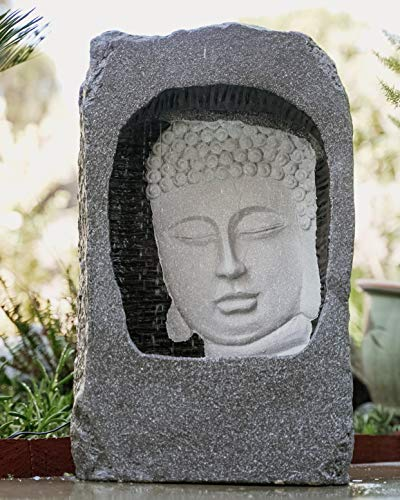 XBrand GE2408BDFTNA Self Standing Buddha Face Water Fountain w/LED Light Indoor and Outdoor Relaxing Zen Decor, 23 Inch Tall, Grey and White