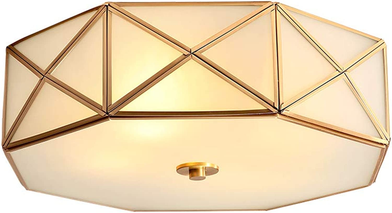 Vintage Rund Deckenleuchte Kupfer Landhaus Glas Gold H12cm