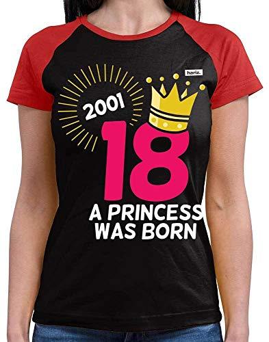 HARIZ  Damen Baseball Shirt Jahr 2001 Princess was Born 18 Geburtstag Lustig Geschenkidee Plus Geschenkkarte Schwarz Rot XXL