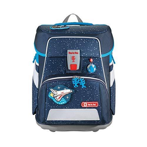 """Step by Step Schulranzen-Set Space """"Sky Rocket"""" 5-teilig, blau-schwarz, Weltraum-Design, ergonomischer Tornister mit Reflektoren, höhenverstellbar mit Hüftgurt für Jungen 1. Klasse, 20L"""