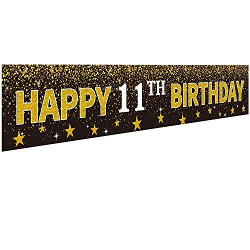 Ushinemi Happy 11th Birthday Banner Party Decorations, 11 Years Old Birthday Backdrop, Cheer to 11th Year Anniversary Large Signs, 9.8X1.6Ft, Gold and Black