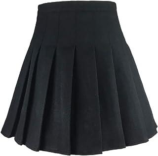 Hoerev - Gonna plissettata da donna, versatile, a quadri, con pantaloncini per la stagione fredda