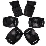 WinLine キッズプロテクター 膝/肘/手首 スポーツプロテクター 保護パッド 6点セット 3色 (ブラック)