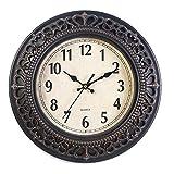 FANJUANMIN Reloj de pared decorativo de cuarzo retro para dormitorio reloj retro sala de estar reloj de pared 10 pulgadas
