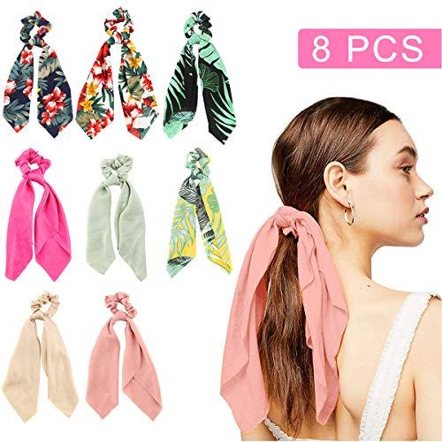 Pañuelo para el cabello Scrunchies- Makone 8 Pcs Satén para el cabello para mujer Soporte para el ponytail Bandas elásticas para el cabello Accesorios para mujeres(Hawaii Style)