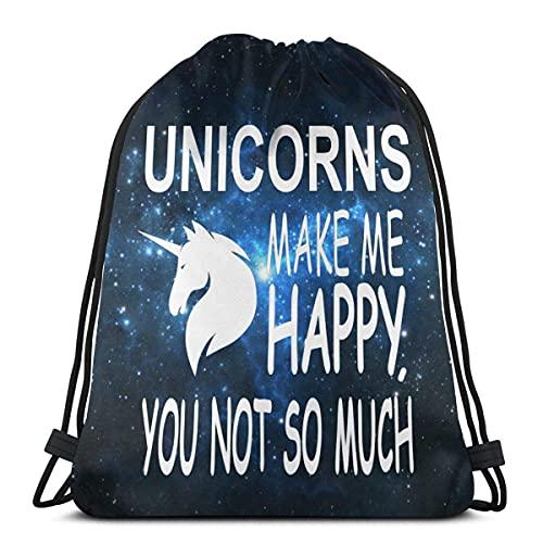 JEOLVP Mochila con cordón Bolsa Saco de poliéster con cincha Mochila informal Mochila deportiva Mochila Unisex Unicorns Make Me Happy