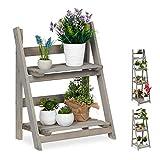Relaxdays Estantería Plantas de 2 Niveles, Madera, Gris, 51,5 x 41 x 24 cm