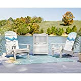 Life is Good 2 Chairs and Cooler Adirondack White 3pc (2 Chairs and Cooler) Patio Seating Set, 2 Chairs and Cooler, Cream