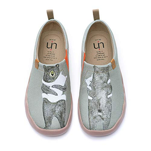 UIN Women's Bear's Hug Travel Canvas Slip-on Shoe Grayish-Green (7)