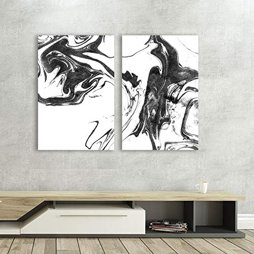 wall26 - 2 Panel Canvas Wall Art - Abstract Ink Splash on White Background