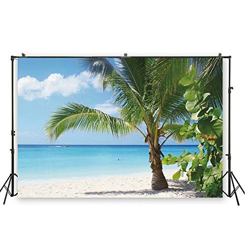 Leowefowa 12x8ft Summer Seaside Beach Palm Forest Rocks Backdrop Vinyl Summer Vacation Photography Background Child Kids Adult Travel Photo Shoot Luau Party Banner Wedding Shoot