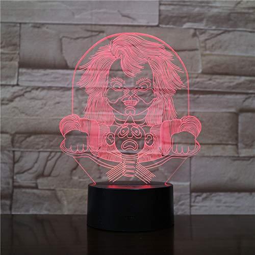 shiyueNB Horror Pop 3D lichten kinderen super decoreren woonkamer 7 kleuren met remote LED nachtlampje