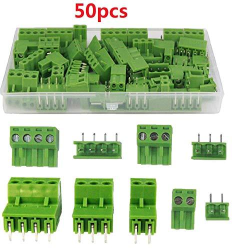 beihuazi® PCB Schraubklemmen 5.08mm Gerade Screw Terminal Block steckbare Anschlussblöcke für PCB Leiterplatten/Board/Klemmenblock 2EDG Socket(2 Pin-10 Paare, 3 Pin-10 Paare,4 Pin-5 Paare)