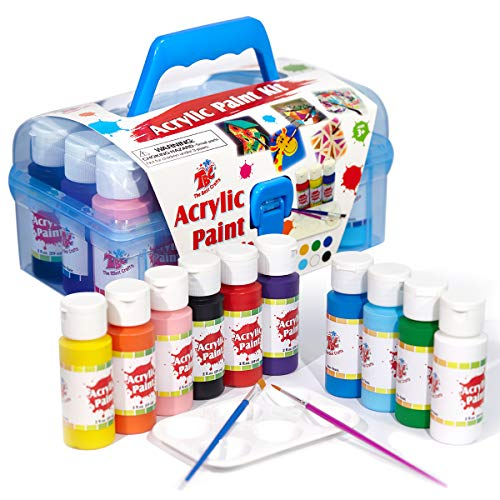 TBC The Best Crafts Acrylic Paint Set Kit, 10 Bottles(20 fl. Oz) Acrylic Paint for Kids with Paint Brushes & Palette, Beginner Paints Set, Ideal School Arts & Crafts Supplies, Rock Painting Set