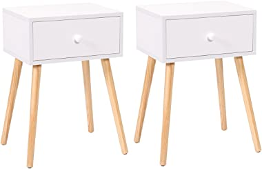 JAXSUNNY Set of 2 Nightstand BedsideTable Mid-Century End Tables w/Storage Drawer & Solid Wood Legs White