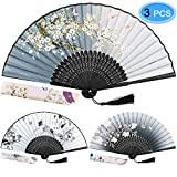 EAONE 3 Pcs Hand Folding Fan, Abanicos de Mano Chinese Vintage Style Handheld Fan with Fabric Sleeve, Silk Fan with Bamboo Frame and Elegant Tassel for Party Wedding Dancing Decoration