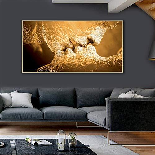 Póster abstracto moderno para pared, diseño de pareja beso, tamaño grande, para sala de estar, decoración del hogar, 60 x 120 cm, sin marco