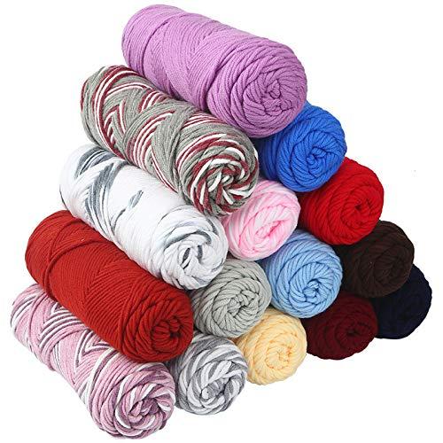 KOMOSO Tejido de algodón popular hecho a mano de ganchillo suave tejido bufanda manta hilo cómodo grueso caliente artesanía 1 pieza