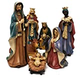 Joy Christmas Natività in Resina Completa da 22,5 cm Set 8 Pezzi per Presepe - 49586