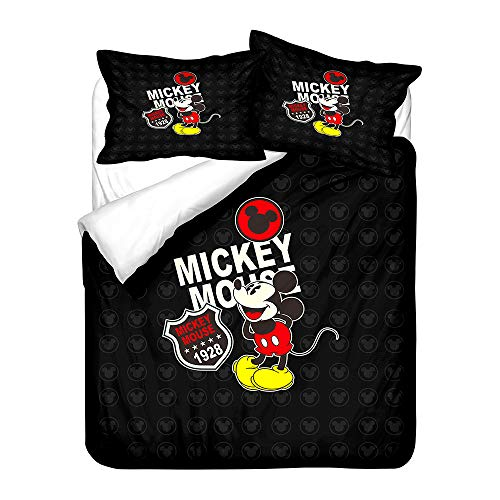 Probuk Juego de cama infantil de Mickey Mouse, 100% microfibra, funda nórdica para niños y niñas, con funda de almohada (A-04,220 x 260 cm (80 x 80 cm)