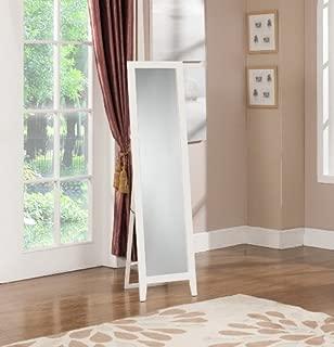 King's Brand Furniture-Laurel Wood Frame Floor Standing Mirror, White