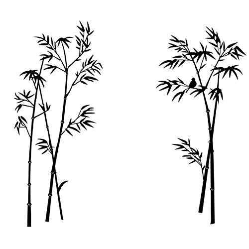 winhappyhome Fond Noir Bambou Art Mural Stickers pour enfant pour chambre salon chambre Decor amovible DIY Nail Art
