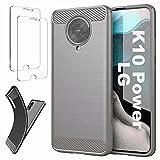 Ttianfa Coque Compatible LG K10 Power Etui Cover Housse 【2X】 Verre Trempé,Fibre de Carbone...